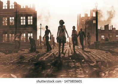 Zombies horde in ruined city after an outbreak,3d illustration for book cover,horizontal