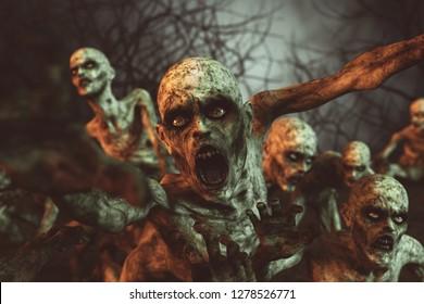 Zombies horror night,3d illustration