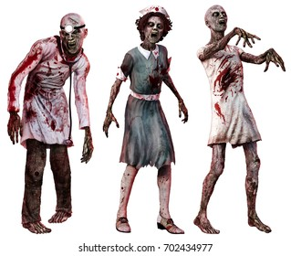 Zombies in hospital clothes 3D illustration