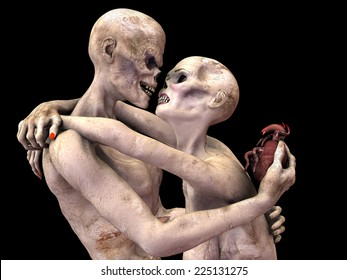 Zombie's in Love - Zombie's embraced looking into each other's eye sockets. Him offering her his heart. Isolated on a black background.