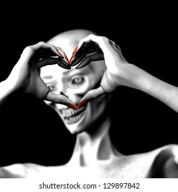 Zombie's in Love - Lady zombie making a heart symbol with her hands..Isolated on a black background.