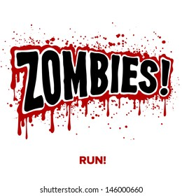 Zombies! Text lettering illustration comic design