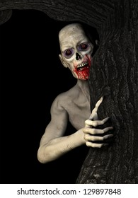 Zombies: an undead zombie behind a tree glaring at you. Isolated on a black background.