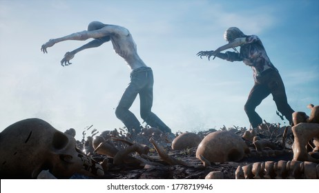 Zombies walk and crawl forward on human bones through smoke and fog. The concept of the zombie-apocalypse. 3D Rendering