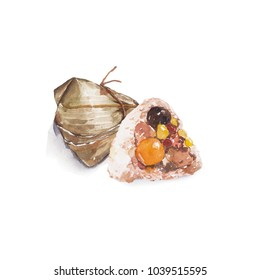 Zongzi - Traditional Dragon Boat Festival dumpling. Hand drawn watercolor painting isolated on white background.