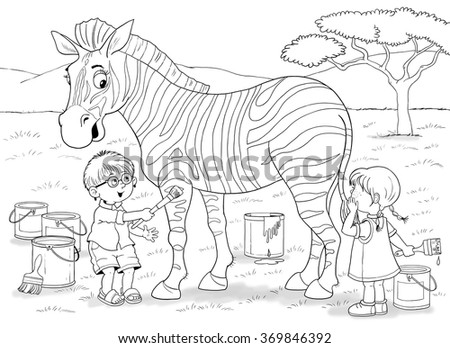 Zoo African Animals Cute Boy Girl Ilustración de stock369846392 ...