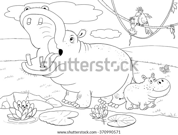 Zoo African Animals Cute Mother Hippo Stock Illustration ...