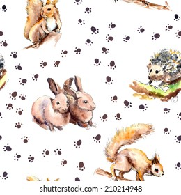 Zoo animal seamless pattern with footprints. Forest animals: squirrel, rabbits, hedgehog. Watercolor