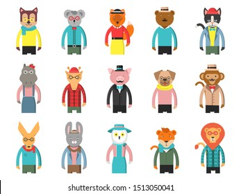 Zoo characters hipsters. Cartoon animals front view game avatars of fox bear dog giraffe owl cat and others mascots