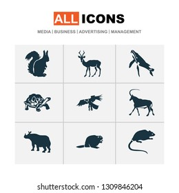 Zoo icons set with beaver, turtle, impala and other muskrat elements. Isolated  illustration zoo icons.