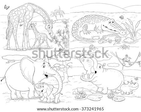 Set Of Cute African Animals Mother Giraffe Crocodile