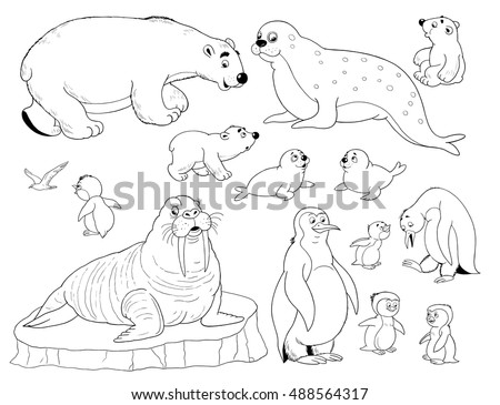 Zoo Small Set Cute Arctic Animals Ilustración de stock488564317 ...