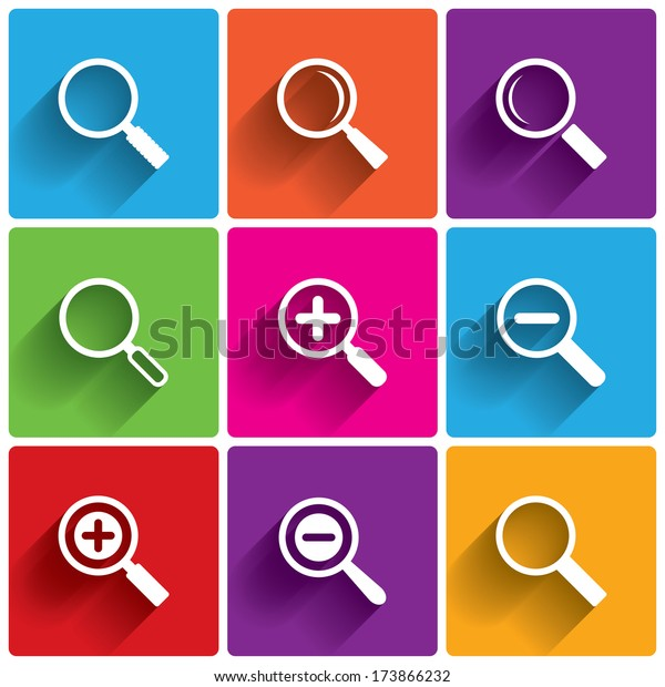 Zoom icons. Search symbols. Magnifier Glass signs.  illustration.