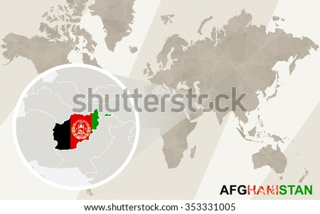 Zoom On Afghanistan Map Flag World Stock Illustration - Royalty Free ...