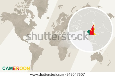 Zoom On Cameroon Map Flag World Stock Illustration 348047507 ...