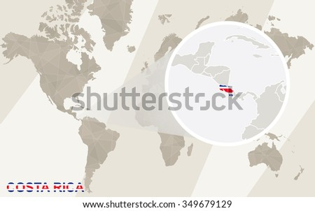 Zoom On Costa Rica Map Flag Stock Illustration 349679129 - Shutterstock