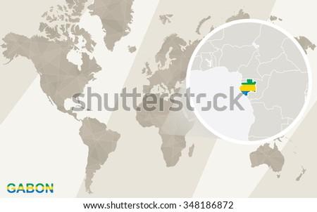 Gabon World Map.Zoom On Gabon Map Flag World Stock Illustration Royalty Free Stock