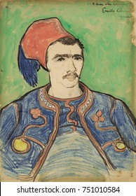 The Zouave, by Vincent Van Gogh, 1888, Dutch Post-Impressionist watercolor painting. Executed with reed pen, brown ink, wax crayon, over a graphite drawing, this was a portrait Van Gogh made in Arles