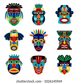 Zulu or aztec mask icons. Mexican indian inca warrior masks isolated on white background