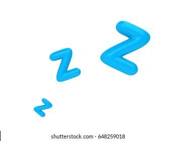 zzz sleeping night sign in 3d rendering.
