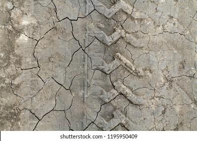 Структура треснутой земли, грунтовая дорога в трещинах