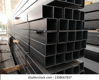 stack​ of square​ steel​ tubes​ or​ pipes​