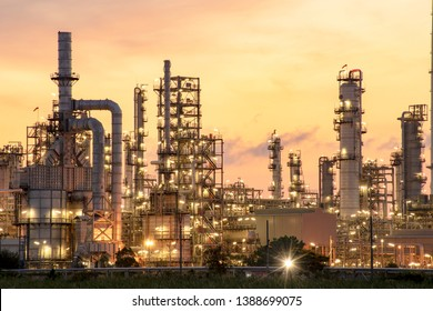 Oil​ refinery​ and​ petrochemical​ plant​ industrial​, natural​ gas​ storage​ tank​ at​ yellow​ sky​ background​