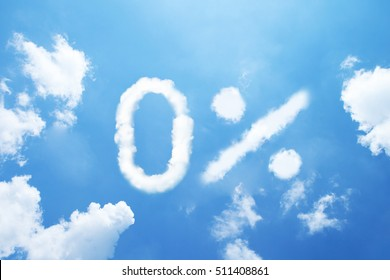 """0%"" cloud word on sky."