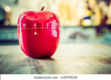 0 Minutes - 1 Hour - Red Kitchen Egg Timer In Apple Shape On A Table