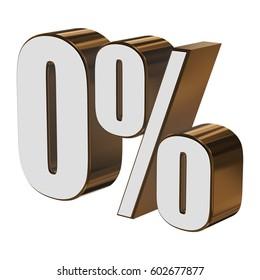 0 percent on white background. 3d render illustration.