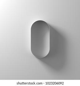 0, zero, nil, white paper number, 3d illustration
