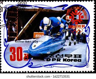 01 16 2020 Divnoe Stavropol Territory Russia postage stamp North Korea 1984 Winter Olympic Games - Sarajevo, Bosnia and Herzegovina Yugoslavia - Medal Winners Bob Kirchner1 bobsled bobsledders
