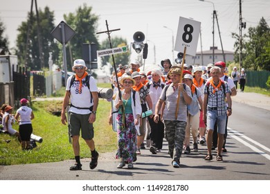 01 August 2018 Ksiazenice Pilgrims of the Silesian region go to the Marian sanctuary in Jasna Gora. Every year in August to Jasna Gora arrive crowd of pilgrims