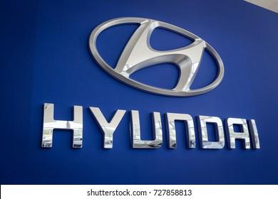 01 of August,2017 - Vinnitsa,Ukraine - the logo of the brand HYUNDAI Creta