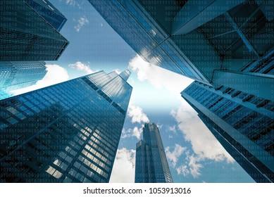 01 or binary data on skyscrapers, computer screen, futuristic city background