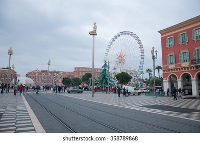 01 january 2016-Nice-France-Overview of the Massena Square in Nice, French Riviera, during a winter day,france