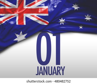 01 January, New Year's Day and Australia national flag