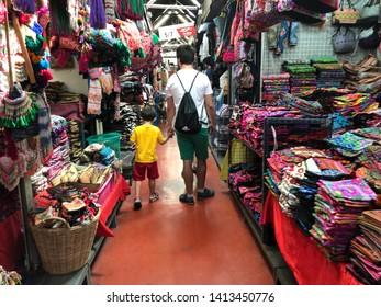 01 June 2019; Bangkok Thailand: Street of Thai traditional handmade shop at Chatuchak Jatujak JJ Weekend Market, The largest market in the world.