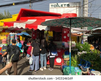 01 June 2019; Bangkok Thailand: Drink Corner in front of the Toilet at Chatuchak Jatujak JJ Weekend Market, The largest market in the world.