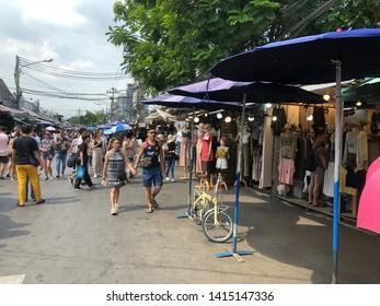 01 June 2019; Bangkok Thailand: Shopping Street at Chatuchak Jatujak JJ Weekend Market, The largest market in the world.