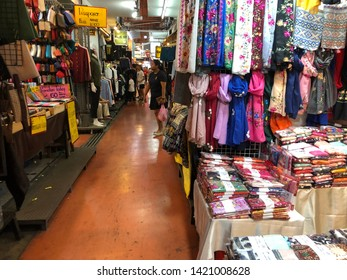 01 June 2019; Bangkok Thailand: Scarf and Thai traditional Silk and Cotton Shop at Chatuchak Jatujak JJ Weekend Market, The largest market in the world.