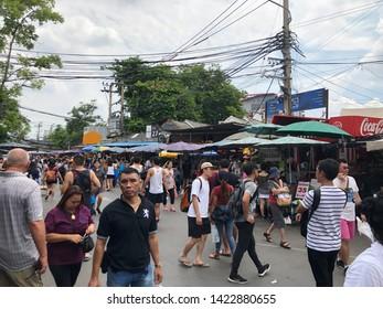 01 June 2019; Bangkok Thailand: People are Shopping at Walking street at Chatuchak Jatujak JJ Weekend Market, The largest market in the world.