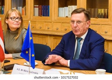01.02.2018. RIGA, LATVIA. Maris Kucinskis, during meeting with Maros Sefcovic, Vice-President of the European Commission for Energy Union.