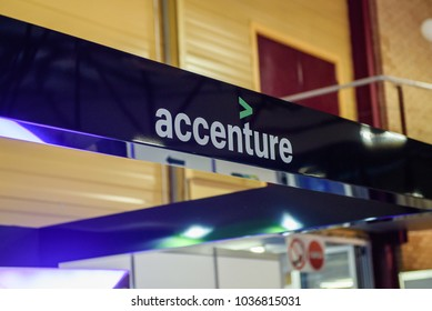 01.03.2018.  RIGA, LATVIA. Accenture stand at Career day 2018 in BT1 exhibition centre.