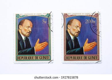 01.03.2021 Istanbul Turkey. Guinea Republic Postage Stamp. circa 1970. Centenary of Lenin 1870-1970. 5 F 200 F