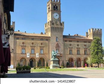 01.04.2019 Busseto, Italy: Giuseppe Verdi monument on the city square of Busseto