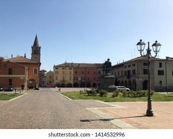 01.04.2019 Busseto, Italy: Giuseppe Verdi square in front of the Pallavicino Rocca