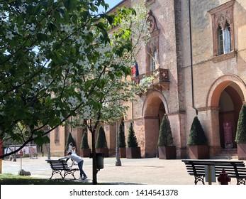 01.04.2019 Busseto, Italy: The Giuseppe Verdi theatre, opera house