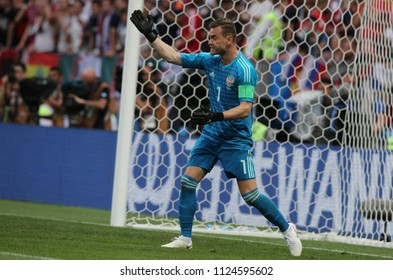 01.07.2018. MOSCOW, Russia: AKINFEEV,  in action during the Fifa World Cup Russia 2018, Eighths of final football match between SPAIN VS RUSSIA in Luzhniki Stadium in Moscow.