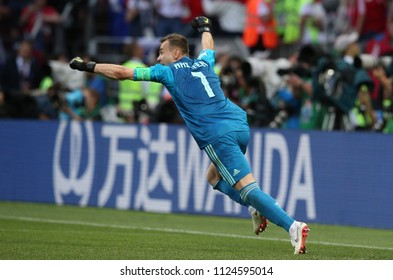 01.07.2018. MOSCOW, Russia: AKINFEEV gives the final penalty IN the Fifa World Cup Russia 2018, Eighths of final football match between SPAIN VS RUSSIA in Luzhniki Stadium in Moscow.
